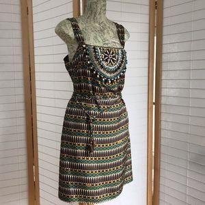 Milly sleeveless silk Summer dress Boho beaded sz4